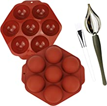 2 pcs Semi Sphere Silicone Mold, Chocolate Candy Dipping Tools Decorating Spoons 7 Cavities Baking Mold for Making Chocola...