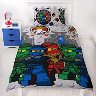 LEGO Ninjago Single Duvet Cover   Officially Licensed Reversible Two Sided Still Castle Action Design with Matching Pillowcase