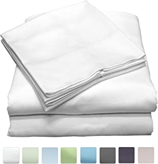Callista King Size Bedding Sets- 100% Cotton -Extra Soft Sateen-Deep Pocket King Sheets - 400 Thread Count Easy fit, Breathable and Cooling Sheets -Luxury King 4 Pc Bed Set - White