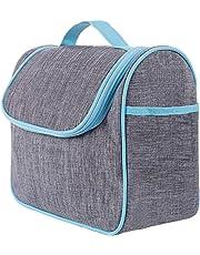 Quntis バスルームポーチ トラベルポーチ ブルー色 吊り下げフック付き 収納バッグ 化粧バッグ 洗面用具入れ 大容量
