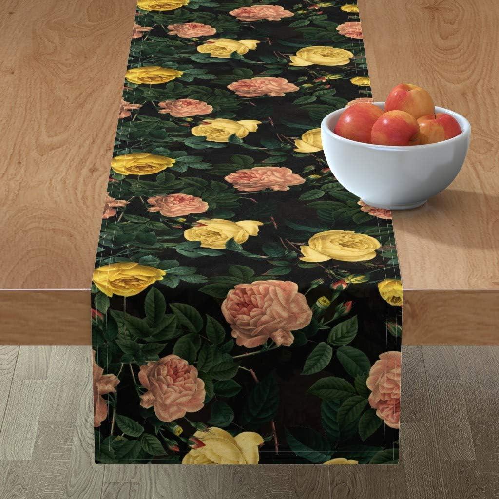 Spoonflower Tablerunner Vintage Direct store Ranking TOP17 Botanical Rosebud Vict Romantic