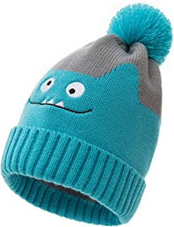 Baby Knitted Hat Winter Cartoon Dinosual Warm Beanie Hat Pom Hat for Boys and Girls Crochet Knit Cap
