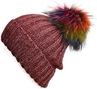 Lawliet Sparkle Threading Wool Crochet Knit Hat Pom Pom Winter Beanie Cap T263
