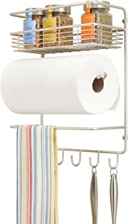 mDesign porte essuie-tout en métal – dérouleur essuie-tout mural compact avec étagère à épices intégrée – accessoire de cu...