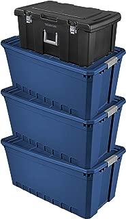 Sterilite, 50 Gallon /189 Liter Stacker Tote, (Case of 3) Bundle with Sterilite Footlocker, Black (4 Items)