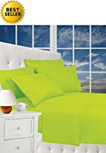 CELINE LINEN Luxurious Bed Sheets Set on Amazon 1800 Thread Count Egyptian Quality Wrinkle Free 4-Piece Sheet Set with Deep Pockets 100% Hypoallergenic, King Lime