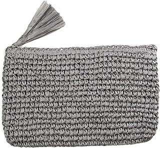 LOF Women's Crochet Paper Straw Clutch Bag with Tassel