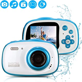 Fascol IP68 Impermeable Cámara Digital de 8MP para Niños 1080P Videocámara con Zoom Digital 6XFotografía InteligenteMarcos de Fotos DivertidosJuego de PuzzleFlash32GB TF Tarjeta