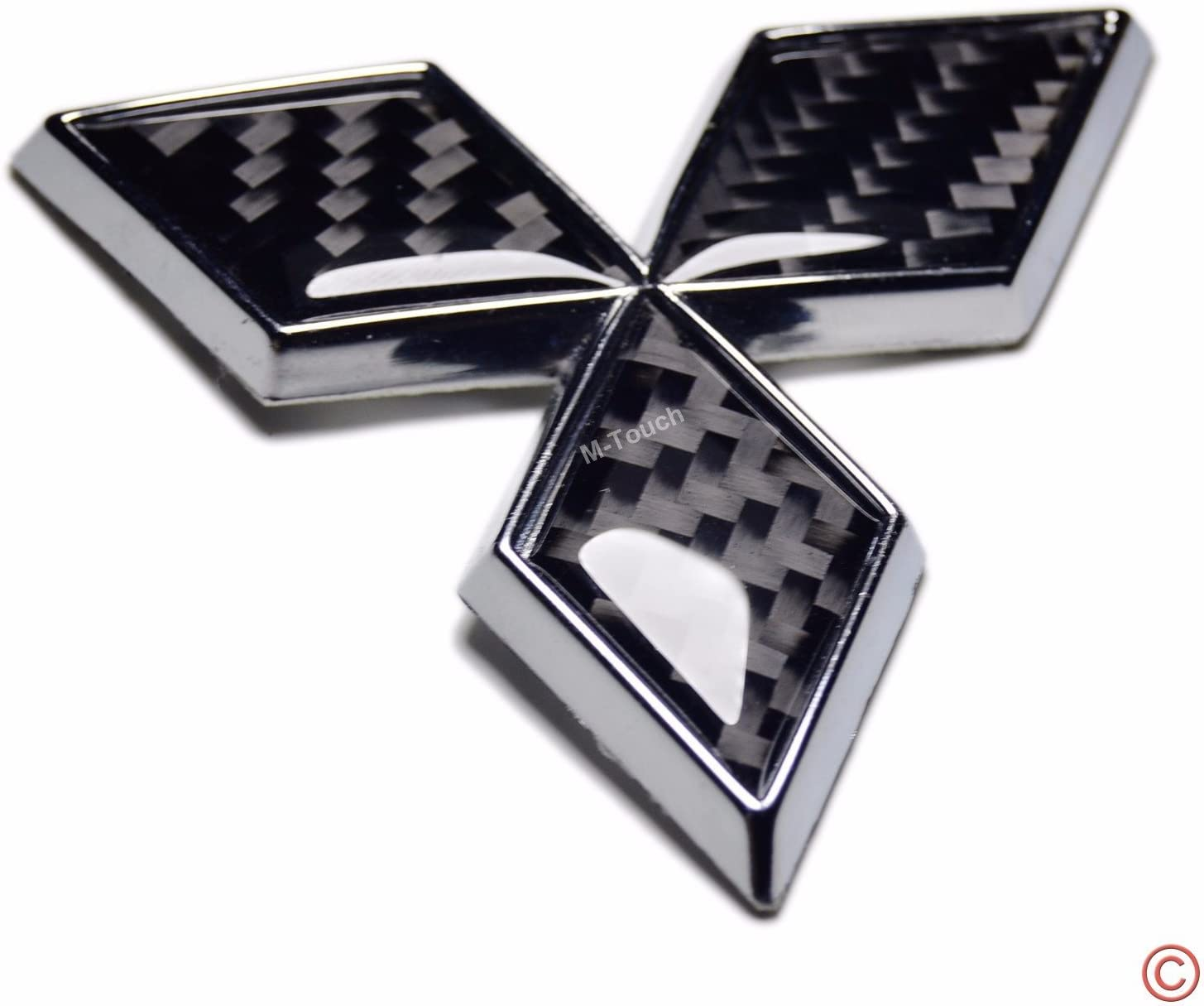 3D Fit Mitsubishi Rear Emblem Badge Logo Black Carbon Style Plastic Made