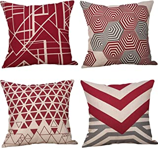 """ZXGUS 4PC 18""""x18"""" Cotton Linen Throw Pillow Cases Home Decor Geometric Printed Sofa Cushion Cover Pillowcases Festival Decorations Club Party Library Decorations"""