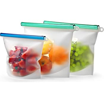 Silicone Reusable Bags for Food Storage Set KIVA.WORLD - Silicone Freezer Bags Quart & 2 Large 50 OZ Airtight Seal - Silicone Sous Vide Bags Reusable Leakproof - Reusable Sandwich Bags Dishwasher Safe