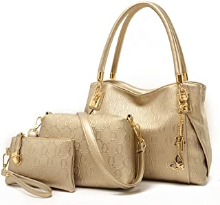Tinksky 3pcs Women Handbag Set Leather Shoulder Messenger Tote Purse Ladies Bag (Gold)