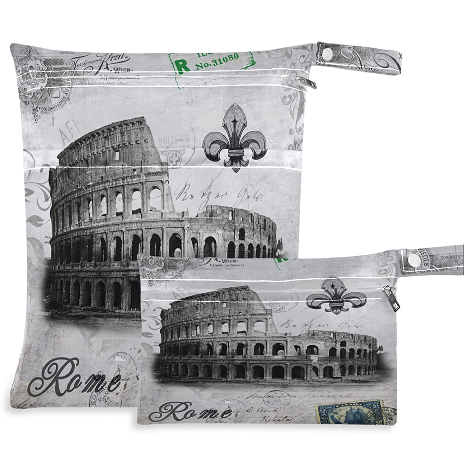 visesunny Discount is All items free shipping also underway Italy Ancient Rome 2Pcs Wet Bag with Pockets Zippered