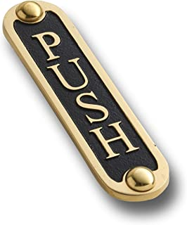 Push Brass Door Sign. Traditional Style Home Décor Wall Plaque Handmade by The Metal Foundry UK.