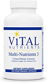 Vital Nutrients - Multi-Nutrients 3 - Citrate/Malate Formula (Without Copper or Iron) - Multi-Vitamin/Mineral with Potent ...