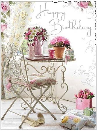 Jonny Javelin Ouvert Carte D Anniversaire Pour Femme Fleurs Table 7 25 X 5 5 Amazon Fr Cuisine Maison