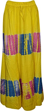 Womens Maxi Skirt Tie Dye Vibrant Flare A-line Summer Festival Boho Flirty Long Skirts (Yellow),Small /Medium