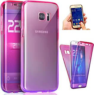 Galaxy S8 Plus Case,ikasus [Full-Body 360 Coverage Protective] Gradient Color Ultra-Slim Scratch-Resistant Front + Back Full Coverage Soft Clear TPU Silicone Rubber Case for Galaxy S8 Plus,Pink Purple