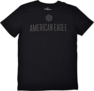 9832a3d0768f American Eagle Mens AE 1977 Logo Front Short Sleeve Cotton Tee T-Shirt Black