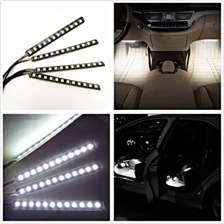 Car Interior Lights, EJ's SUPER CAR 4pcs 36 LED DC 12V Waterproof Atmosphere Neon Lights Strip for Car-Car Auto Floor Lights,Glow Neon Light Strips for All Vehicles (White)