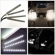 Car Interior Lights, EJ's SUPER CAR 4pcs 36 LED DC 12V Waterproof Atmosphere Neon Lights Strip for Car-Car Auto Floor Lights,Glow Neon Light Strips for All Vehicles (White)