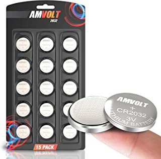 AmVolt 15 Pack CR2032 Battery [Ultra Power] 20MM – Best 3 Volt Lithium Watch..