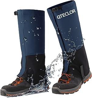 گتر ساق پا ضد زنگ QTECLOR برای کفش برفی ، پیاده روی ، شکار ، دویدن ، پارچه ضد پارگی آکسفورد موتور سیکلت ، قلاب کفش فلزی کمربند TPU برای فضای باز (آبی ، م)