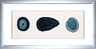 DMS Store Framed Natural Agate Stone Slice Set Home/Office Room Décor Wall Art (Silver)