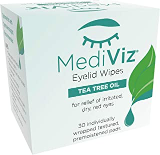 Mediviz Tea Tree Eyelid Wipes - Exfoliating, Hypoallergenic Eyelid Scrubs to Help With Crusty Eyelashes, Eyelid Bumps, Allergies, Demodex Mites, Clogged Meibomian Glands, Eyelid Irritation (30-Pack)