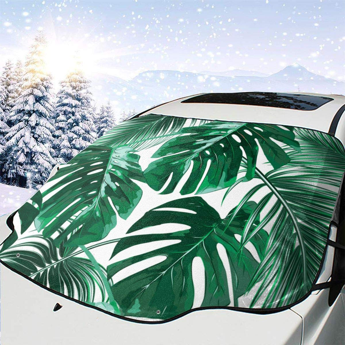 In stock Adiabatic Automotive At the price Windshield Sunshades Tropical Palm Leaves