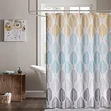 Madison Park Essentials Central Park Design Modern, Botanical Casual Shower Curtains for Bathroom, 72 X 72, Yellow/Aqua