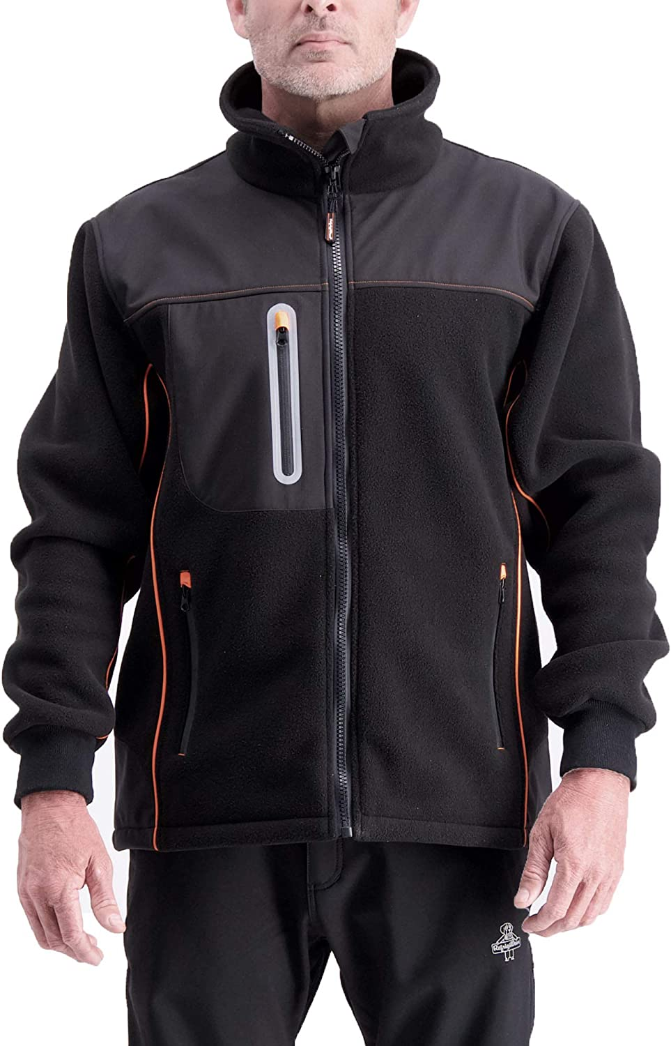 RefrigiWear Water-Resistant PolarForce Hybrid Fleece Insulated Jacket with HiVis Orange Piping