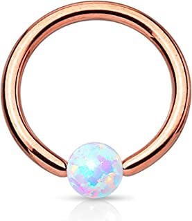 Created-Opal Captive Bead Ring Surgical Steel Ring 16 Gauge