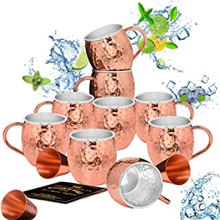 Set of 8 Moscow Mule Copper Mugs with Stainless-Steel Lining   Heavy-Duty Double Wall Lined Barrel Shape Copper Mugs + 1 Bonus Mug (9 Total) + 3 Copper Shot Glasses   Hammered, Insulated Cups