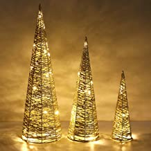 Lewondr Christmas Cone Tree LED Light, 3 Pieces Battery Powered Exquisite Decorative Light Glittering Xmas Tree for Indoor...