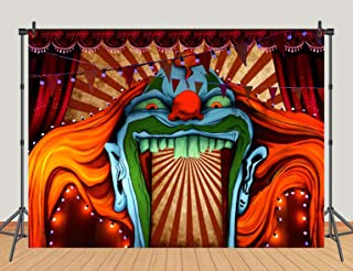 Horror Circus Carnival Theme Halloween Eve Photography Background Giant Birthday Party Photo Background Scary Entrance Giant Evil Vampire Decoration Cake Table Banner Studio Prop 5x3ft Vinyl