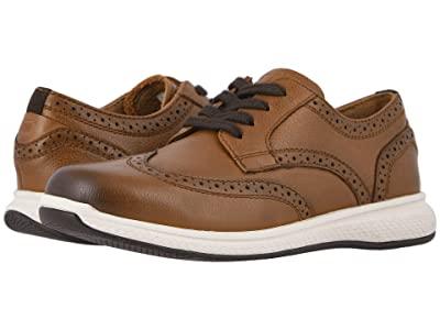Florsheim Kids Great Lakes Wing Tip Ox Jr. (Toddler/Little Kid/Big Kid) (Cognac Milled Leather/White Sole) Boy