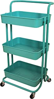 Aewio 3-Tier Utility Rolling Cart Multifunction Storage Service Cart with Handle and Lockable Wheels for Kitchen Bathroom ...