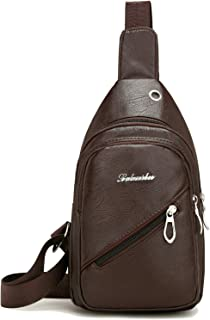 Leather Chest Sling Bag for Men Women, Small One Shoulder Crossbody Bag with Headphone Cable Hole for Outdoor Cycling Hiking Travel (Brown)