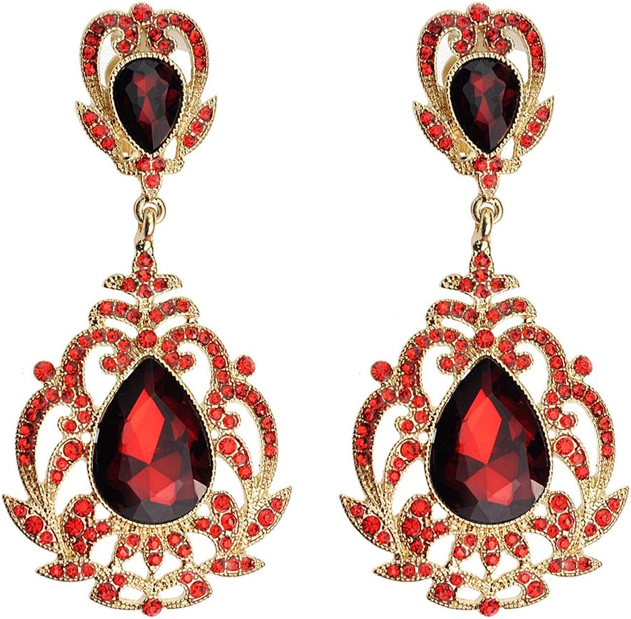 Rhinestone Studded Filigree Teardrop Stone Clip On Fashion Earrings