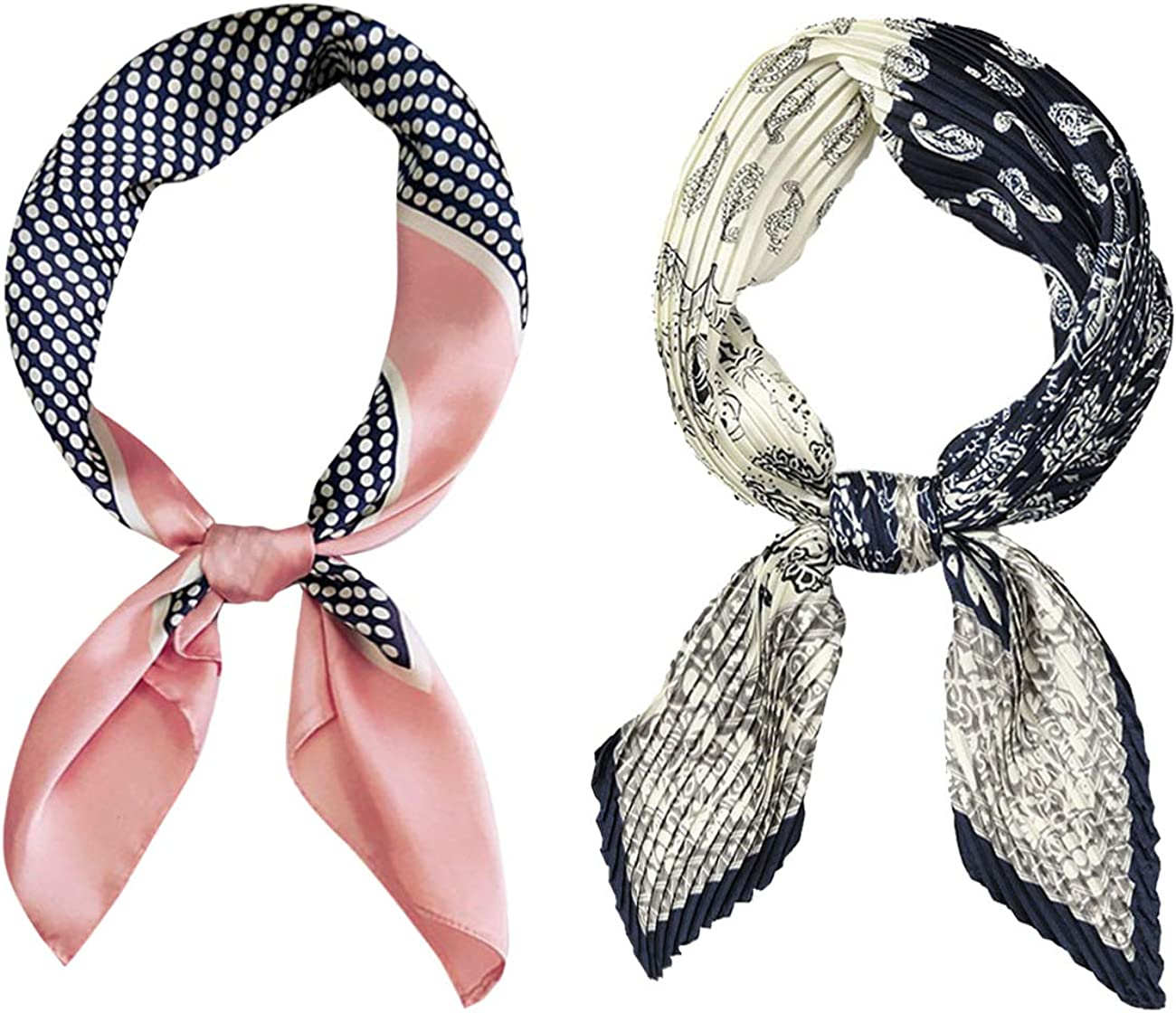 GERINLY 2PCS Spring Satin Square Scarf And Pleated Neckerchief Set Hair Band For Women