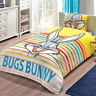 Looney Tunes - Bugs Bunny Striped 3 Pcs Twin / Single Size %100 Cotton Duvet Cover Set Bedding Linens