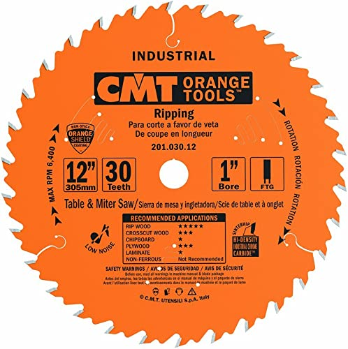 """high quality CMT high quality 201.030.12 12"""" x 30 Tooth FTG, .126 Kerf, 1"""" Bore Table Saw Ripping sale Blade outlet online sale"""