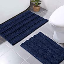 NICETOWN Navy Blue Bathroom Rugs, Ultra Thick and Soft Texture Chenille Plush Floor Mats Hand-Tufted Bath Rug with Non-Slip Backing, Microfiber Door Mat for Kitchen/Entryway (Pack 2-20 x 32/17 x 24)