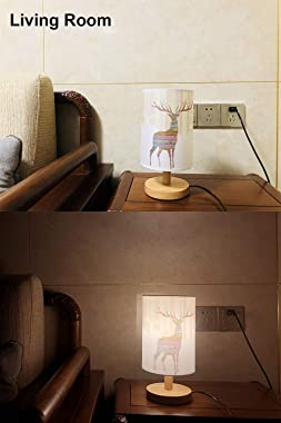 AFORTLO Table Desk Lamp, Small Nordic Decorative Nightstand Night Light Solid Wood Base Lamp for Bedroom,Living Room,End Tabl
