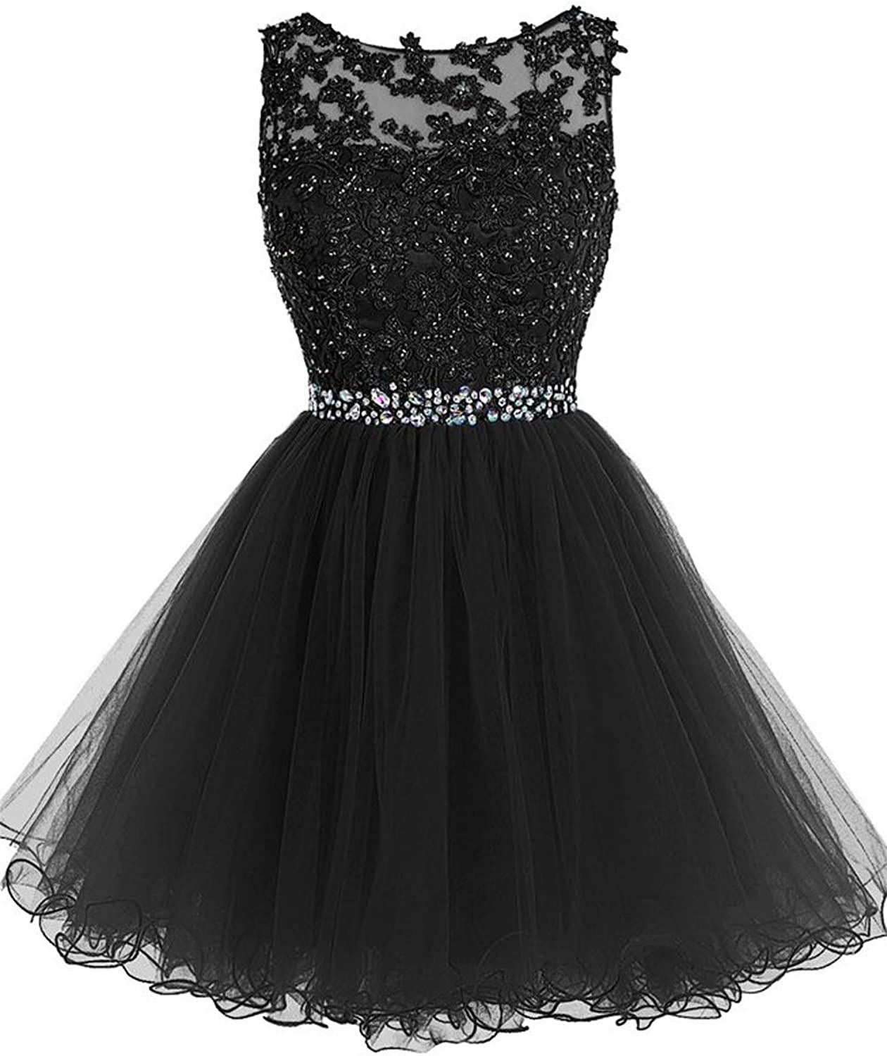 Cdress Beaded Applique Short Prom Homecoming Dresses Tulle Party Evening Gowns