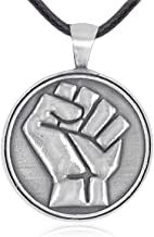 Namaste Jewelers Resistance Symbol Raised Fist Pendant Necklace Pewter Jewelry