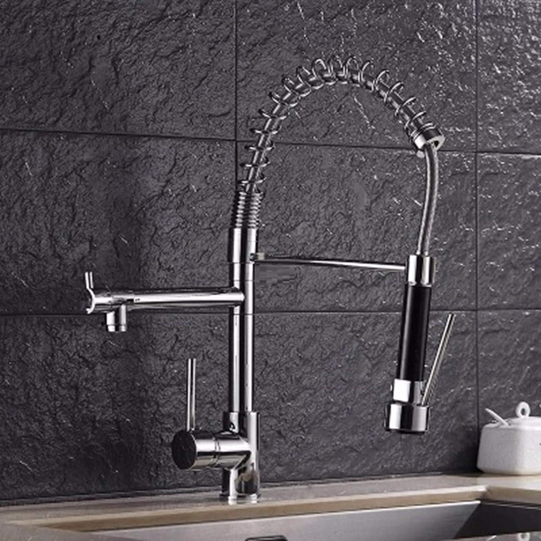 MulFaucet Hochdruck Zug Frühling Wasserhahn Küche hei und kalt Kupfer doppeltes Wasser groe Spüle Gold Wasserhahn A