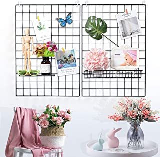 Yuntec Grid Wall Panels(Set of 2), Grid Photo Wall Multifunction Wire Panel Board for Wall Display Decoration Photo Hangin...