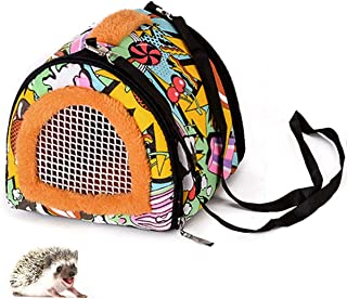 Small Animal Carrier Bag Small Guinea Pig Hedgehog Carriers with Detachable Strap Double Zipper Travel Pets Small Guinea Pig Chinchillas Hamster Rat Hedgehog Carriers Sling Handbag for Small Animals